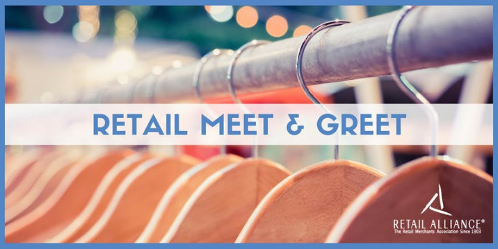 Retail Alliance Meet and Greet header with text and image of hangers