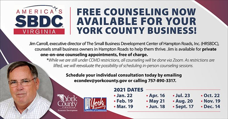 Jim Carroll HRSBDC 2021 Counseling Schedule